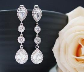 Wedding Bridal Jewelry Bridal Earrings CZ connectors and clear white (LUX) cubic zirconia tear drop dangle Earrings Bridesmaid Jewelry