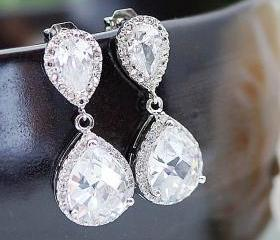 Wedding Jewelry Bridal Jewelry Bridal Earrings Bridal Necklace Clear White LUX Cubic Zirconia Tear drops Dangle earrings