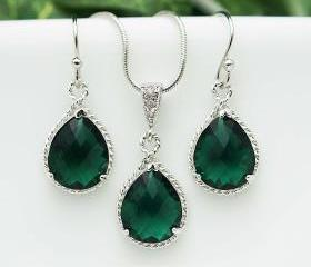 Wedding Jewelry Bridesmaid Jewelry Bridesmaid Earrings Bridesmaid Necklace Emerald Glass rhodium Trimmed Pear Cut Bridesmaid gift