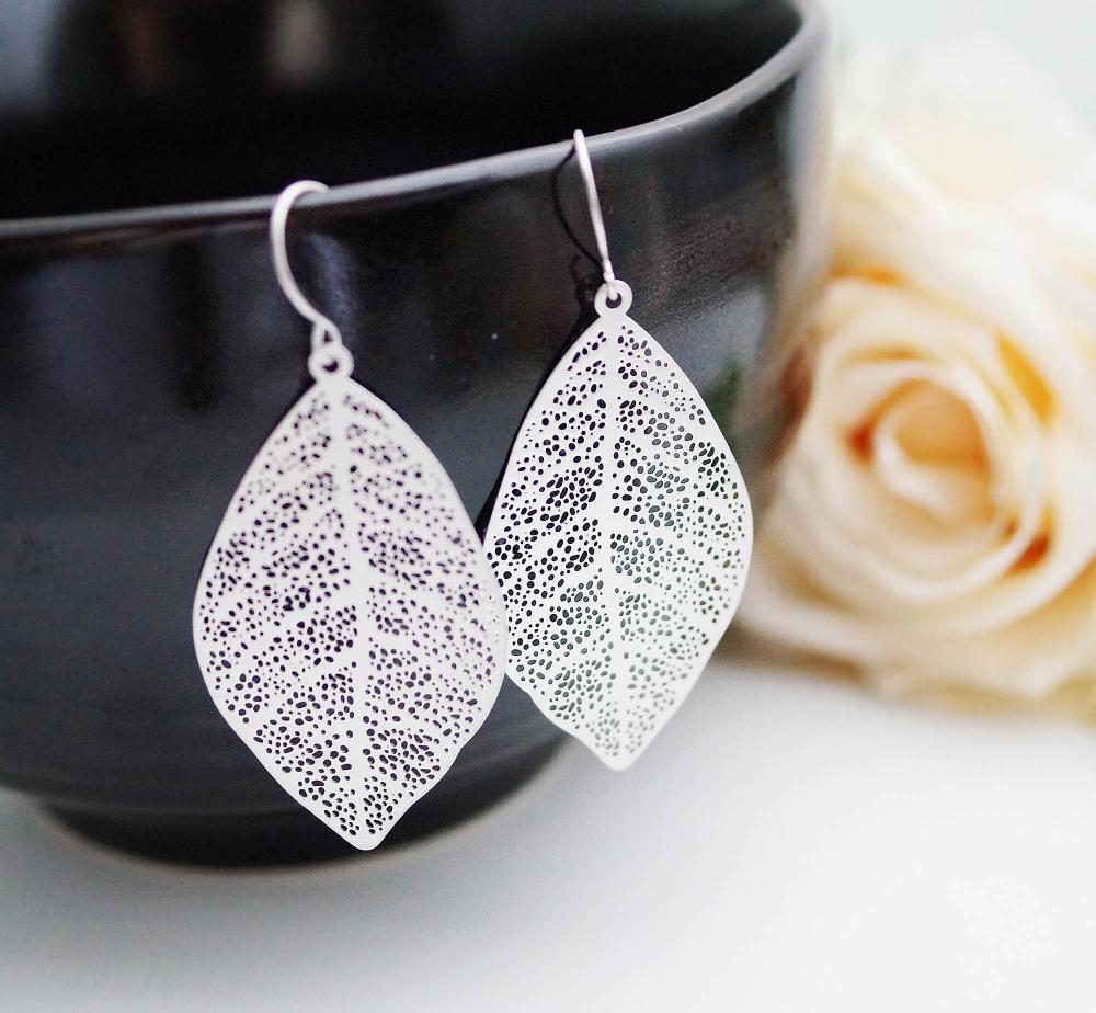 Modern Jewelry Modern Earrings Matte Rodium Plated Leaf Earrings  For Her  Gift For Her